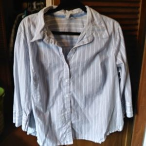 Blue and white button-up shirt